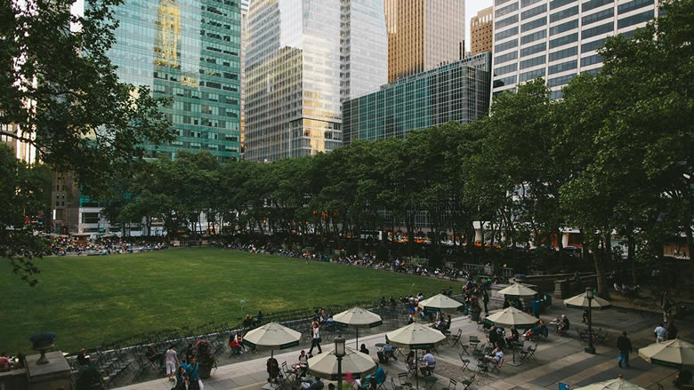 view of park outside of bryant park restaurant